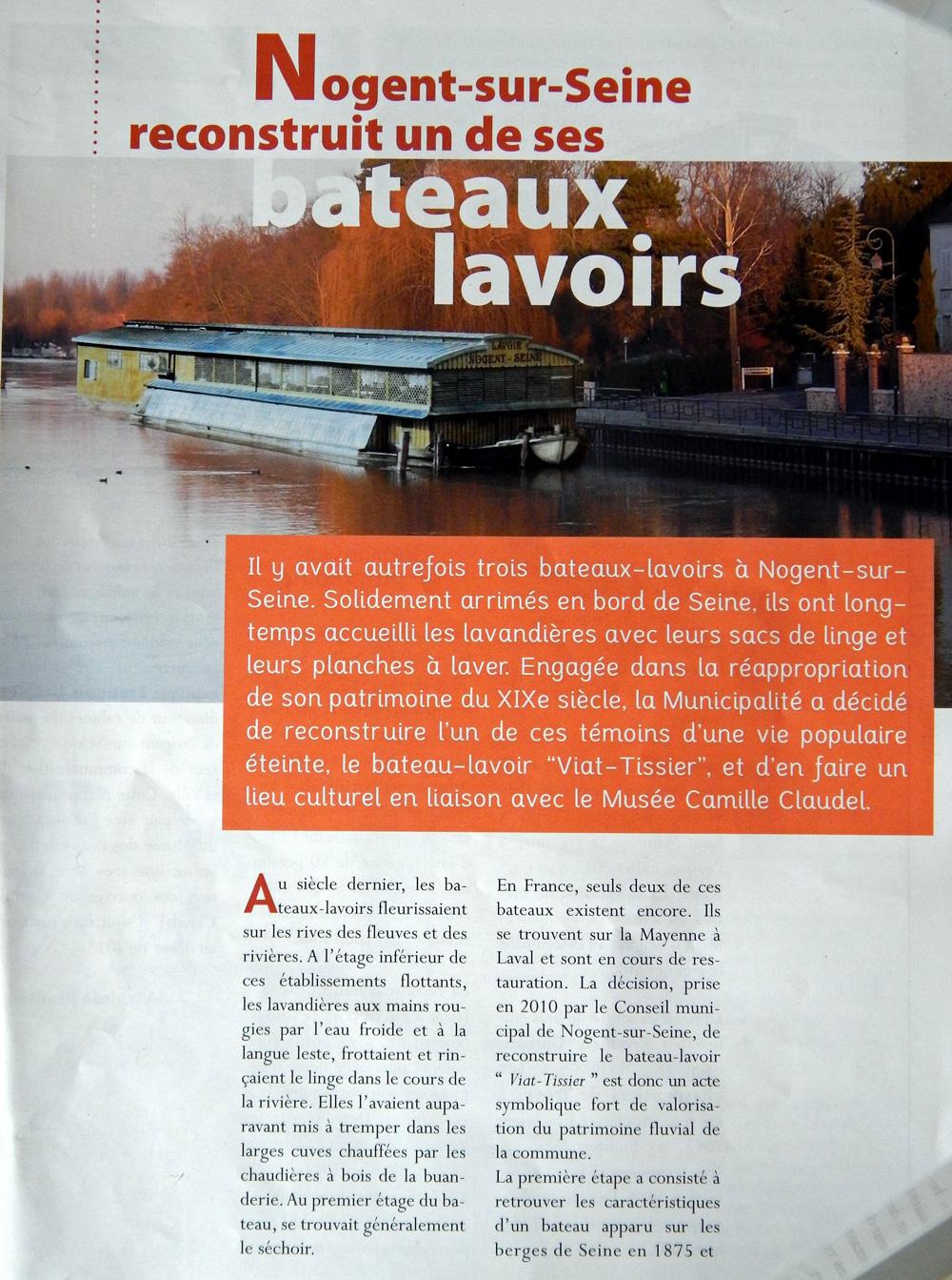 La ville de nogent r compens e pour le bateau lavoir dont - Piscine de nogent sur seine ...